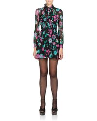 Saint Laurent Silk Floral Tie-Neck Dress black - Lyst