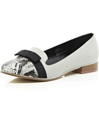 River Island Grey Bow Front Slipper Shoes - Lyst