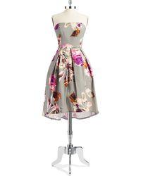 Trina Turk Floral Strapless Dress - Lyst