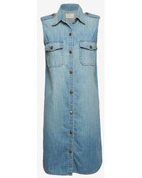 Current/Elliott Exclusive Sleeveless Denim Shirtdress blue - Lyst
