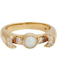 Pamela Love Opal Diamond  Gold Luna Ring - Lyst