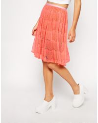 American Apparel Lace Mid-Length Skirt pink - Lyst