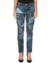 Etoile Isabel Marant Dillon Slim Midrise Patchwork Jeans Blue - Lyst