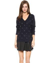 Elizabeth And James Angora Embellished Sweater - Navy - Lyst