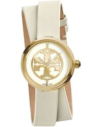Tory Burch Reva Double-Wrap Watch, Ivory Leather/Gold-Tone, 28 Mm - Lyst