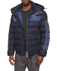 Moncler - Severac Wool-blend Coat With Nylon Inserts - Lyst