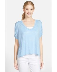 Two By Vince Camuto Boxy High/Low Burnout Tee - Lyst
