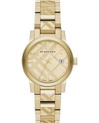 Burberry Goldtone Ip Stainless Steel Check Etched Bracelet Watch34mm - Lyst