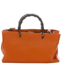 Gucci Dark Rust Leather Convertible Bamboo Top Handle Bag - Lyst