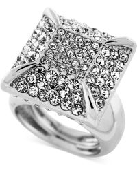 Vince Camuto - Light Rhodium-Tone Pavé Square Ring - Lyst
