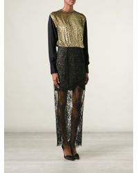 Alessandra Rich Metallic Lace Sheer Panel Dress - Lyst