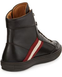 Bally Oldani Leather Hightop Sneaker Dark Brown - Lyst