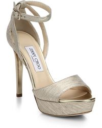 Jimmy Choo Kayden Metallic Leather Platform Sandals - Lyst