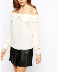 TFNC Off Shoulder Blouse With Exaggerated Bow Detail beige - Lyst