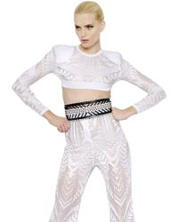 Balmain Viscose Jacquard Crop Top - Lyst