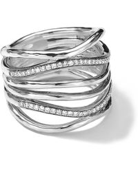 Ippolita - Sterling Silver Multi-band Ring With Diamonds (0.32ctw) - Lyst