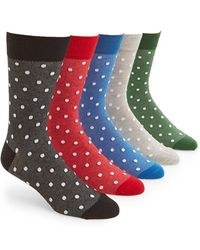 Topman Men'S Polka Dot Socks - Grey (5-Pack) - Lyst