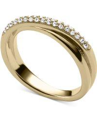 Michael Kors Clear Pavé Crisscross Ring - Lyst