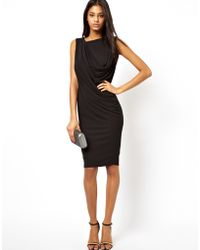 Asos Luxe Drape Midi Dress - Lyst