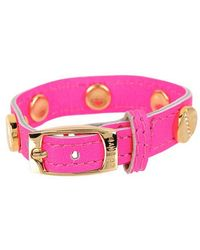 CC SKYE The Signature Screw Bracelet With Gold Pave pink - Lyst