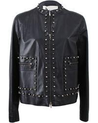 Lanvin Stud Detail Leather Jacket - Lyst