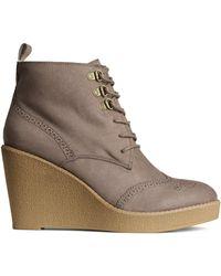 H&M Gray Wedge-heel Boots - Lyst