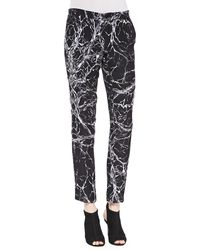Haute Hippie Branch-print Tapered Trousers - Lyst