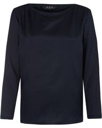 A.P.C. Navy Cherbourg Silk-blend Blouse - Lyst