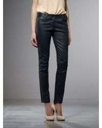 Patrizia Pepe Stretch Leather Trousers Tapered At The Ankle - Lyst