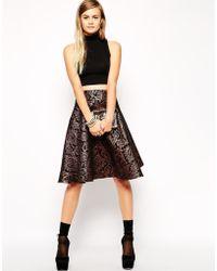Asos Midi Skirt In Metallic Jacquard - Lyst