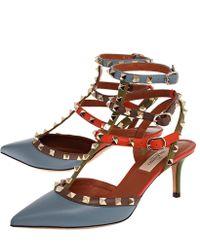Valentino Grey Leather Rockstud 65 Italian Pop Slingback Stiletto Pumps - Lyst
