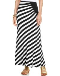 Eci Ruched Striped Maxi Skirt - Lyst
