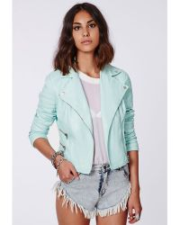 Missguided Shaina Mint Biker Jacket - Lyst