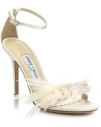 Jimmy Choo | Vivien Ostrich Feather-bow Satin Sandals | Lyst