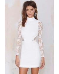 Nasty Gal Danica Lace Dress - Ivory - Lyst