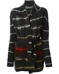 Raquel Allegra Printed Distressed Belted Cardigan - Lyst