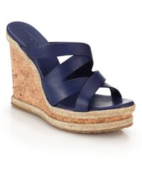 Jimmy Choo Prisma Cork-Wedged Leather Mule Sandals blue - Lyst