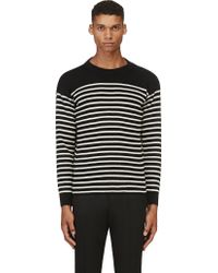 Saint Laurent Black and White Striped Buttoned_shoulder Sweater - Lyst