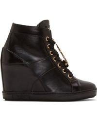 Versus  Black Leather Wedge Sneakers - Lyst