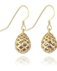 Kinnari - Gold Small Egg Earrings With Amethyst - Lyst
