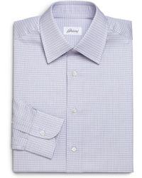 Brioni Regular-Fit Check Cotton Dress Shirt - Lyst