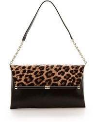 Diane Von Furstenberg 440 Large Haircalf Clutch Leopardblack - Lyst