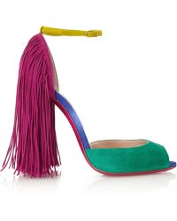 Christian Louboutin Otrot 120 Fringed Color-Block Suede Sandals - Lyst