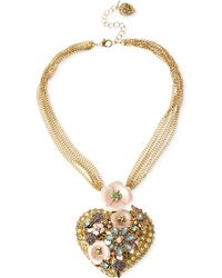 Betsey Johnson Gold-Tone Flower And Crystal Heart Pendant Necklace - Lyst