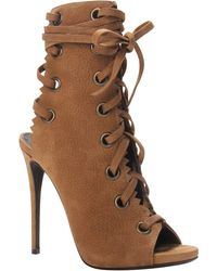 Giuseppe Zanotti Textured Suede Lace-Up Alien Bootie Textured Suede Lace-Up Alien Bootie - Lyst