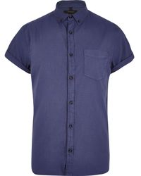 River Island Blue Short Sleeve Oxford Shirt - Lyst