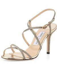 Jimmy Choo Elaine Strappy Glitter Sandal - Lyst