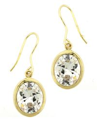 Lord & Taylor - Gold Plated-sterling Silver Drop Earrings With Cubic Zirconia Stones - Lyst