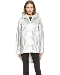 T By Alexander Wang Laminated Tyvek Hooded Anorak - Aluminum - Lyst