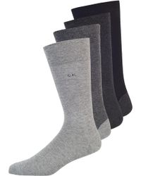 Calvin Klein Grey 4 Pack Plain Contrast Heel And Toe Socks gray - Lyst